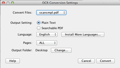 Specify OCR Settings in the OCR Configuration Dialog
